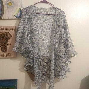 Lucky brand sheer kimono style wrap shirt